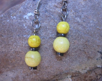 boho earrings Yellow earrings stone earrings hematite beaded earrings bohemian earrings hippie earrings dangle drop earrings