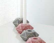 Set of 4 Geometric candle holders, Grey and pink ceramic candlesticks, Modular candelabra, made in Israel