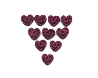 Crochet Hearts 10 pcs 100% cotton quality yarn purple applique
