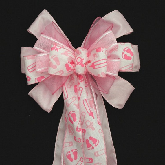 Items similar to pink baby feet girl baby shower bow for Baby feet decoration
