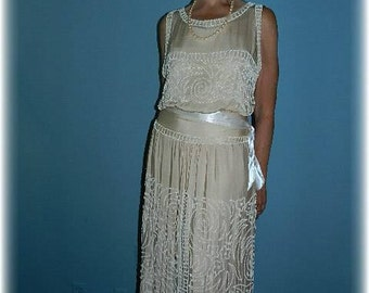 Antique Edwardian Downton Abbey Style Champagne Silk Gown Wedding Dress