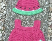 Crochet Watermelon Summer Sundress and Hat Set