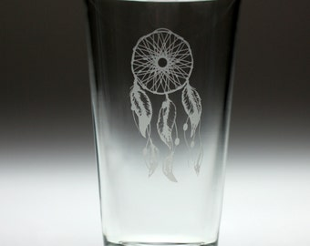 Dream catcher engraved glass with rustic single hoop and six feathers. dreamcatcher, feathers, woven