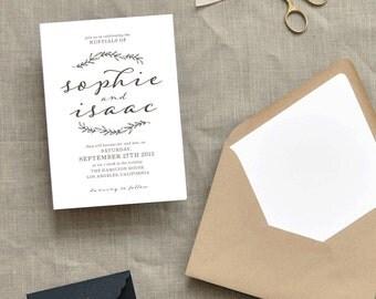 Elegant Laurel Custom Wedding Invitations Sample