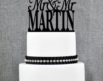 Same Sex Wedding Cake Topper with Custom Last name, Same Sex Topper in Modern Font- (T153)