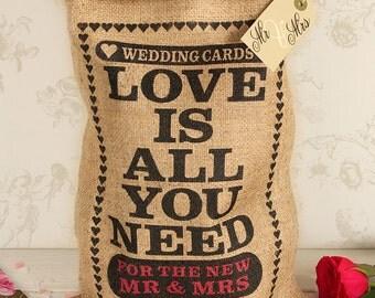Wedding card box sack, small wedding card holder, Love Is.. design.