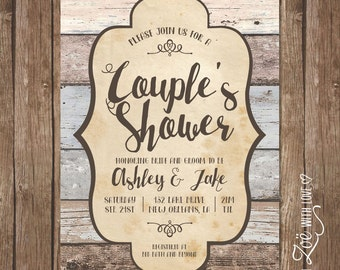 Rustic Couples Shower Invitation, Printable, Shabby Chic, Boho Neutral Wood Grain