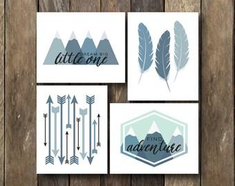 Blue Tribal Nursery - Instant Download Nursery Printables - Tribal Nursery Decor - Printables Set - Blue Tribal Nursery - Blue Nursery Art