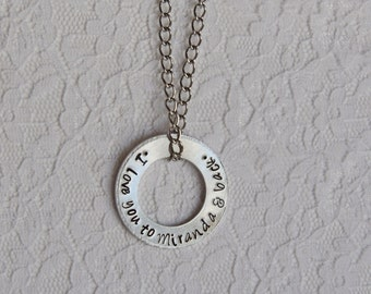 I Love You to Miranda & Back Washer Necklace - Hand Stamped, Firefly, Serenity, River Tam, Mal Reynolds, Geeky, Nerdy, Gift, Valentine