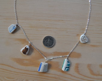 Scottish Sea Pottery Ceramic Beach Pendant Necklace In Calm Neutral Earth Tones - White & Blue, Green And Brown- 18 Inch Silver Plated Chain