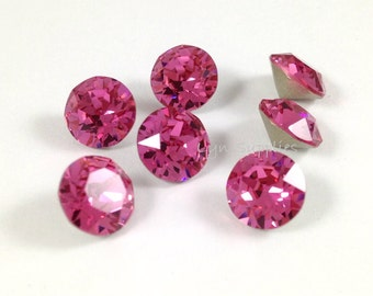 1088 SS39 ROSE 12pcs Swarovski Crystal XIRIUS Chaton Pointed Back Round Stones
