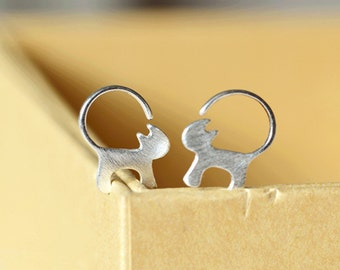 925 Silver cat drop earrings- silver jewelry -cat dangle earrings-silver cat earrings-gifts for girls/bridesmaid