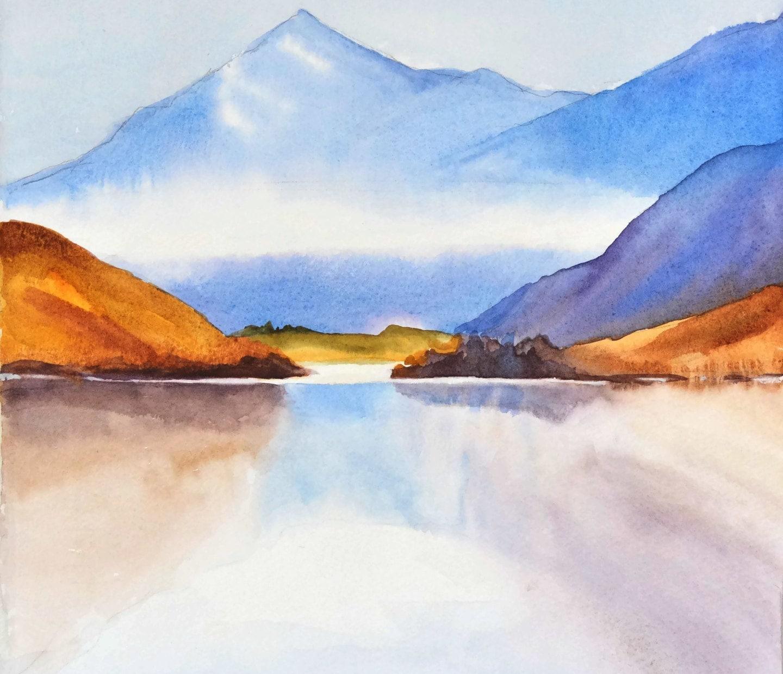 Mountain Watercolor Painting Landscape - 268.6KB