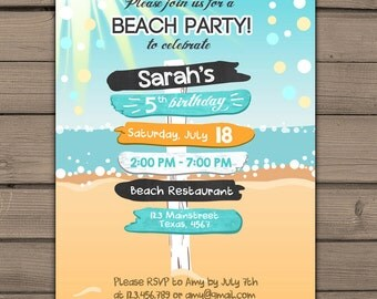 Beach Party Invitation Beach invitation Beach birthday invitation Beach Bash Summer invitation Sun photo Confetti Digital PRINTABLE ANY AGE