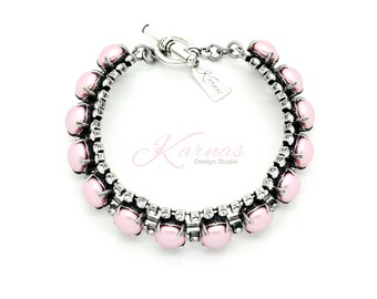 CRYSTAL POWDER ROSE 8mm Halo Toggle Bracelet Made With Swarovski Elements *Antique Silver *Karnas Design Studio *Free Shipping