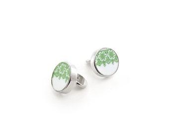 Green women cufflinks, broken china cuff links, woman cuff links