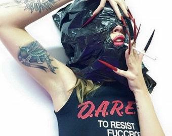 Dare To Resist FBoiz Sleeveless Crop Grunge Sports Health Goth
