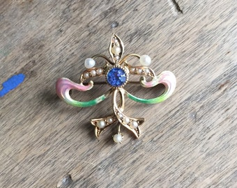 Art Nouveau enamel, sapphire, and pearl pin/enhancer 14K