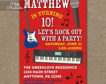 Rock Star Birthday Invitations - Printable Music Birthday Invitation - Kids or Adults Music Invitations - Guitar Keyboard Karaoke Party