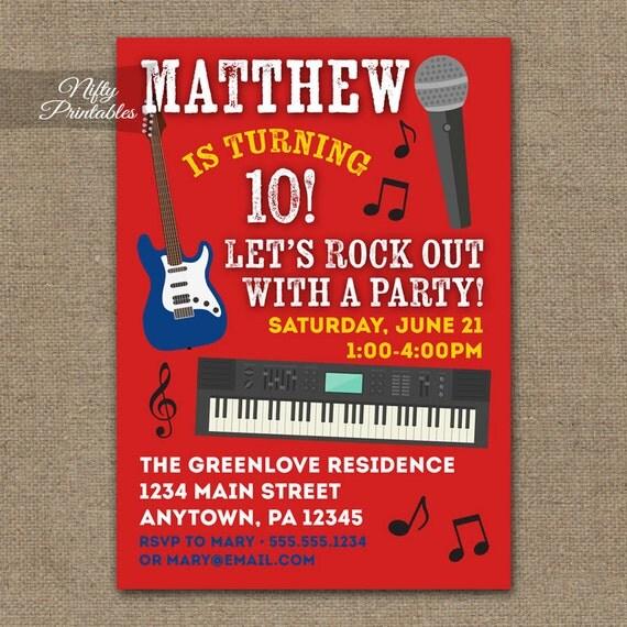 Rock Star Birthday Invitations Printable Music Birthday