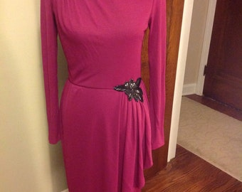 Clingy Vintage Dress with Black Accents, Gathered Side Accent, Maroon