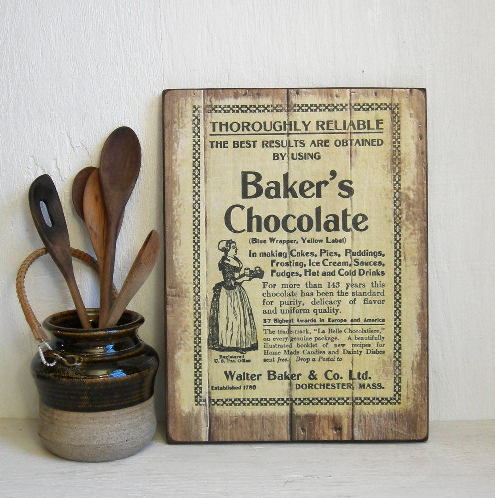 Vintage chocolate sign chocolate lovers gift vintage kitchen Gifts for kitchen lovers