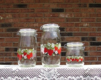 Strawberry Glass Jars ~ Ermetico Glass Jars ~ Carlton Glass ~ Glass Strawberry Canister Set ~ Group of 3 ~ Strawberry Collector