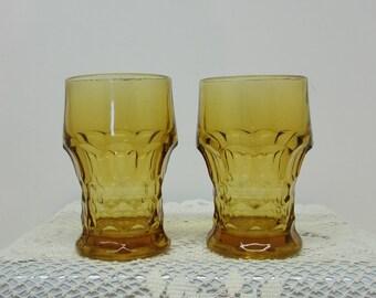 Amber Glasses ~ Set of 2 ~ Georgian Pattern  ~ 1960s Mad Men Retro Barware