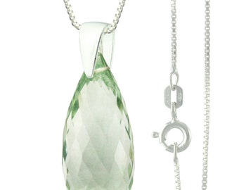925 Sterling Silver Briolette Natural Green Amethyst Pendant Necklace