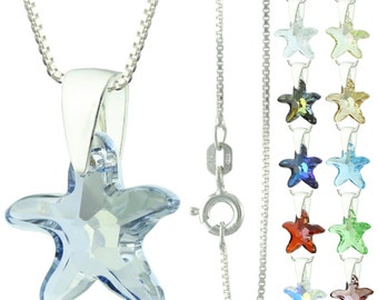 925 Sterling Silver Faceted Starfish Swarovski Crystal Pendant Necklace