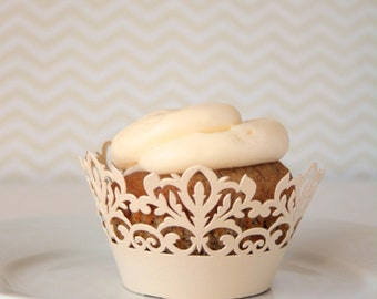 Cupcake Wrappers - 12 Ivory Lace Damask Cupcake Wrappers - Laser Cut Champagne Cupcake Wrappers Package of 12