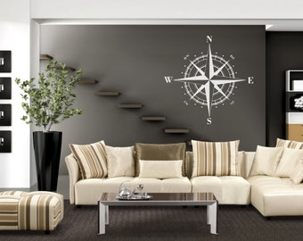 Compass Rose Wall Decal - Compass Rose - Compass Rose Decal - Compass Wall Decal