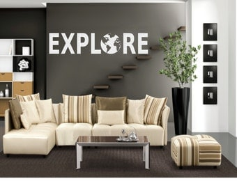 Explore with Globe Wall Decal - Travel Decal - Globe Decal - Adventure Decal - World Decal