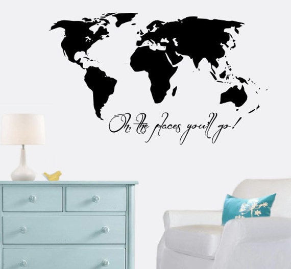 Large world map decal oh the places youll go wall like this item sciox Gallery