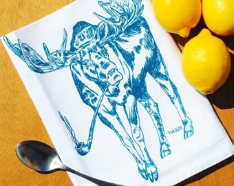 Cotton Tea Towel - Absorbent Towel  - Screen Printed Moose Towel - Flour Sack Tea Towel - Unique Gift Idea for Weddings