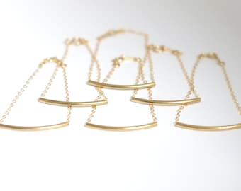 Bridesmaid bracelet set of 3,4, 5, 6 Bridesmaid gift Bridesmaid jewelry Wedding jewelry Gold tube bracelet Dainty gold bracelet