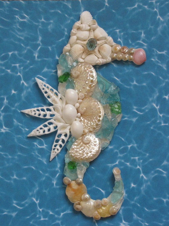 Seahorse Wall Decor Seahorse Shell Art Beach Decor Seashell