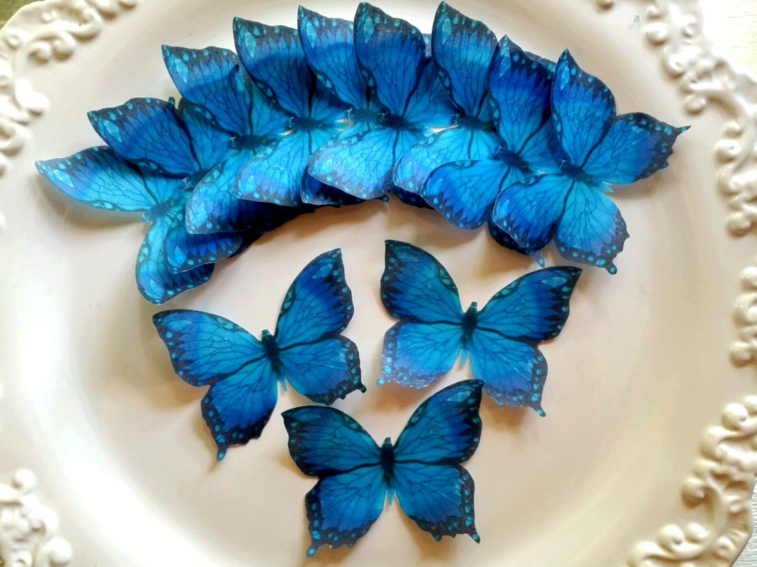 Butterfly Edible Cake Images : Edible Butterfly Majestic Blue Cake Toppers / Cake decorating/