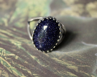 Blue Goldstone Ring // Celestial Sky // Deep Blue // Silver Ring // Adjustable
