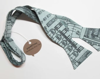 Freestyle Architecture Bow Tie - Blueprint Bow Tie - Ground Plan Bow Tie - Elevation Bow Tie - Building Bow Tie - Men's Self-Tie Bow Tie