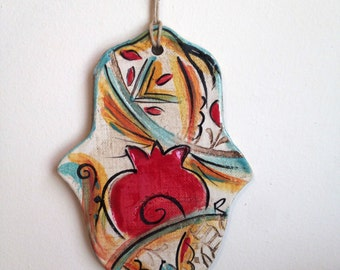 Ceramics Hamsa hand, Hamsa wall hanging, Jewish ornament, Ceramic ornament, Red pomegranate Hamsa, Home Decor Judaica, handmade from Israel