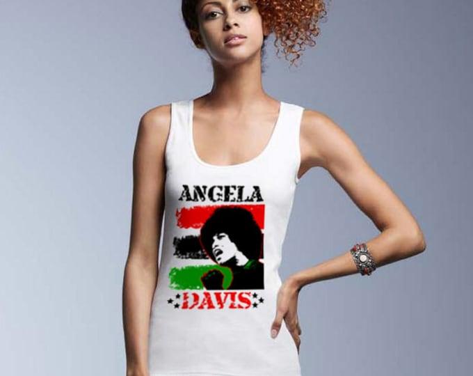 Angela Davis Revolutionary Women's Premium Tank Top - White