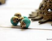 Tibetan Beads - Two Beads - Handmade Tibetan Beads - Tibetan Turquoise - Brass Bead Caps - Small Beads - Jewelry Making - Ethnic Beads
