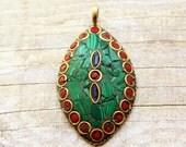 Large Tibetan Pendant - Malachite Brass and Coral Inlay - Petal Shaped Pendant - Handmade - Jewelry Making - Jewelry Supplies - Ethnic