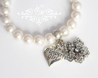 Wedding Jewelry Flower girl Charm Flower girl Bracelet Pearl Bracelet Children Bracelet Swarovski Pearl Rhinestone flower bracelet - ROSE
