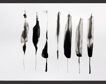 Original Abstract Ink Drawing (29,7 x 40,5 cm) (11,7 x 15,8 inch)  on paper Sumi640