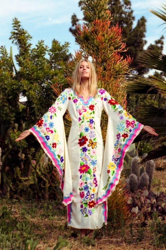 Festival Wedding Dress Beach Kaftan W/Mexican Embroidery