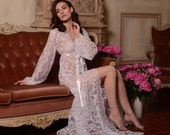 Long Lace Bridal Robe F3, Bridal Lingerie, Wedding Lingerie, Honeymoon, Sleepwear,Wedding Trousseau, Christmas Gifts, For Her