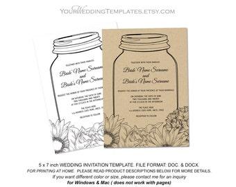 Rustic mason jar invitation template| DIY wedding invitation template| Instant download| T052
