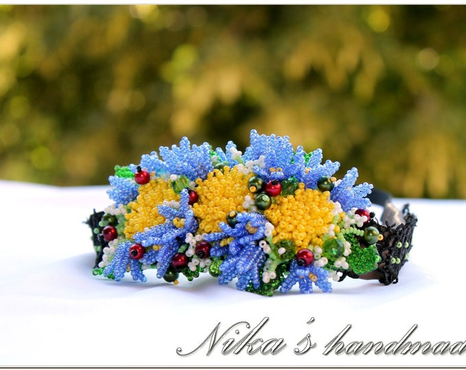 Grecian Flower Headband with Dandelions and field bellflowers Campanulas made of czech beads in Ukrainian ethnic style